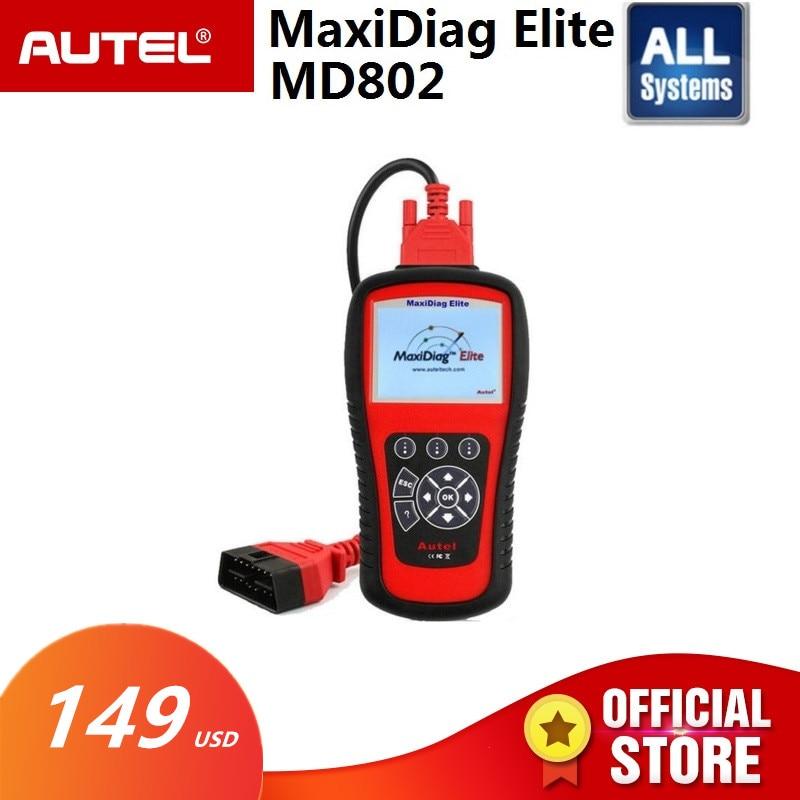 AUTEL MaxiDiag Elite MD802 Tutti I sistemi di rilevatore di auto OBDII lettore di codice scanner per EPB reset Olio OBD2 strumento diagnostico PK MD805
