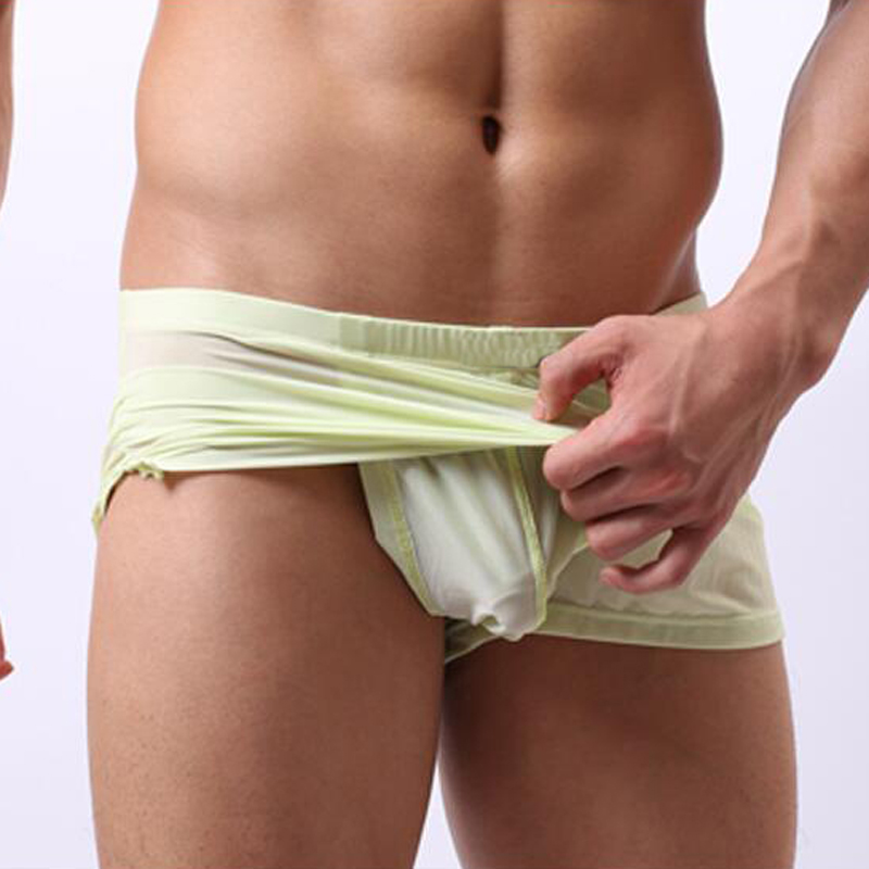 Home Sleep Bottoms Underwear Men Shorts Casual Homes Family Comfortable Man Boxers Thin Smooth Convex U Pouch Pajama Trousers