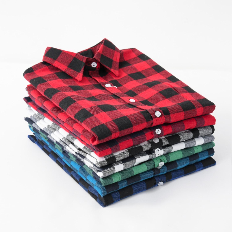 1e1fd8c2c8 2019 Nova Marca Mulheres Blusas Camisas de Algodão de Manga Comprida Camisa  Xadrez de Flanela Vermelha Preta Casual Feminina Plus Size Blusa Tops roupas