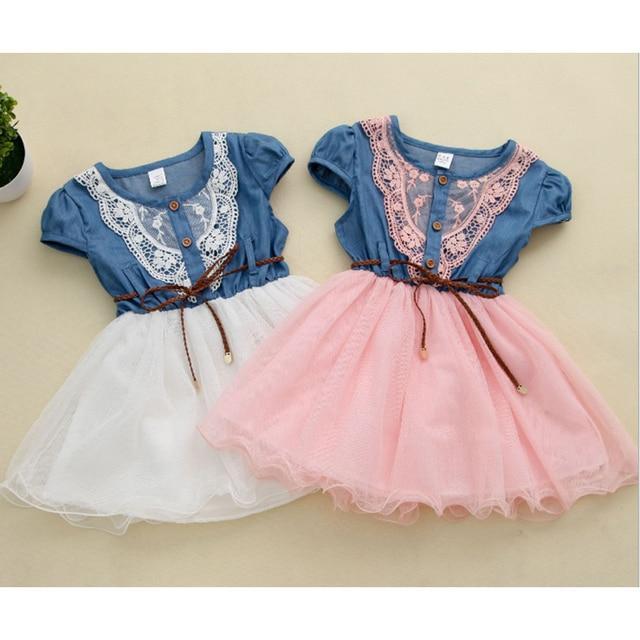 a80bce621 2018 nueva moda Niñas bebé Encaje los niños del vestido del vaquero del  tutú de la