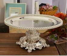 Silber überzogene kuchenbehälter tortenständer obst gebäck brot tray halter tischdekoration hochzeit tablett dekoration SG013