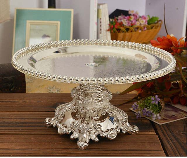 Silver Plated Cake Tray Cake Stand Fruit Pastry Bread Tray Holder Table  Decoration Wedding Party Tray