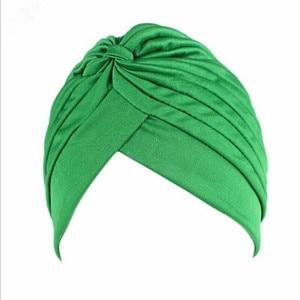 Image 4 - 20Pcs 24 Colors Muslim Turban Caps Women Elastic Stretchy Beanies Hats Bandanas Big Satin Bonnet Indian
