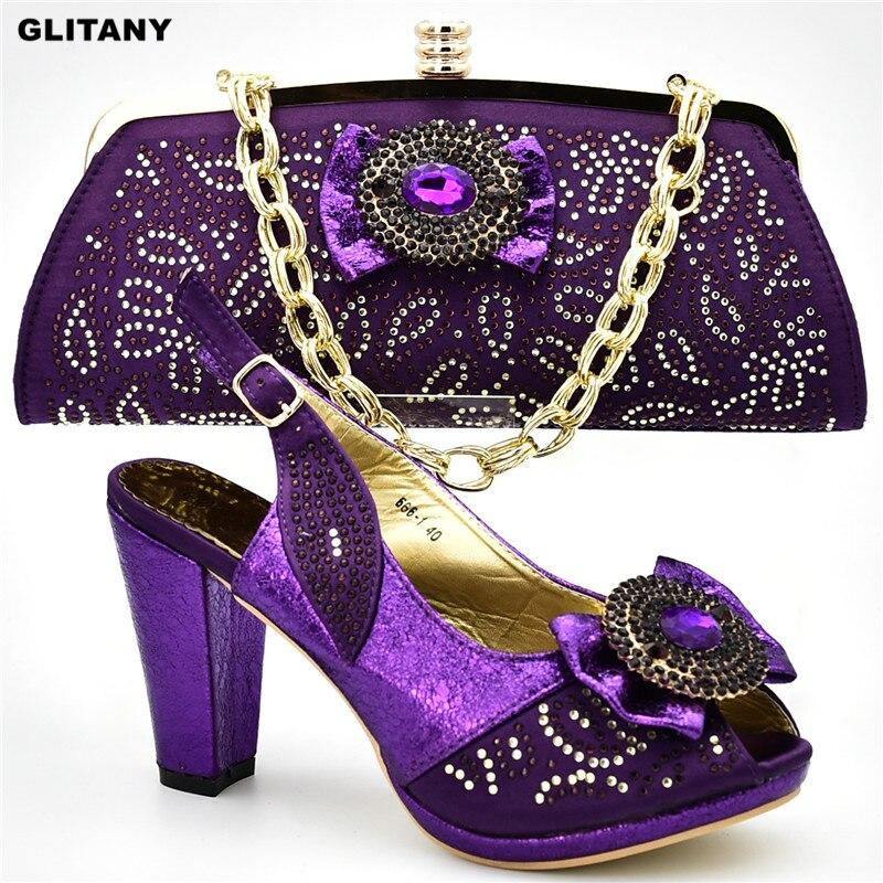 light Bolso Imitación purple Decorado Las Bombas Bolsos Purple Azul De Y Partido Diamantes oro Africano Con Italiano Zapatos Mujeres Nuevas Tacones qRqw8UO