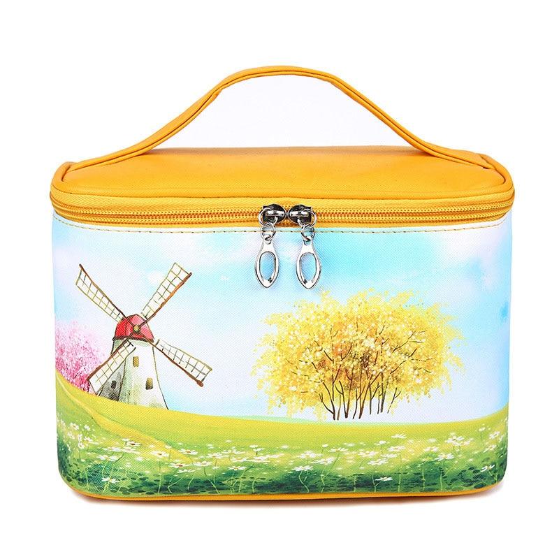 Women Cosmetic Bag PU Leather Waterproof Hand-Held Lovely Large Capacity Flower Girl Portable Handbag Cosmetic Bag