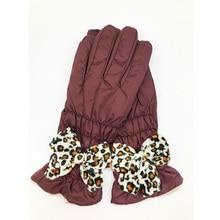 FLYBER Elegant Women Full Finger Gloves Leopard Bow Tie Scre