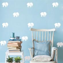 купить 18PCS=2SET Elephant Wall Sticker DIY Wall Decal  Children Room Removable Decorative Stickers For Kid's Bedroom по цене 246.85 рублей