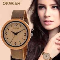 2016 Okwish Fashion High Quality Women Casual Leather Band Wrist Watch Quartz Dress Watcth