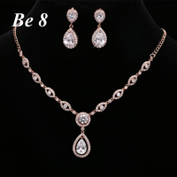 Be8 Brand Beautful Shiny Water Drop Cubic Zirconia Jewelry Sets Women Bridal Gifts White Gold Color Earring Necklace Sets S 019