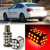 Brand New Red BAY15D Auto Tail Stop Brake Light 5050 48 SMD LED Bulbs For Citroen C5