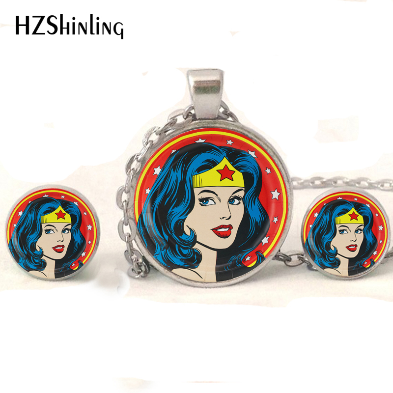 NR-008 New Fashion Wonder Woman Jewelry Set Wonder Woman Comic Glass Cabochon Pendant Necklace with Stud Earrings