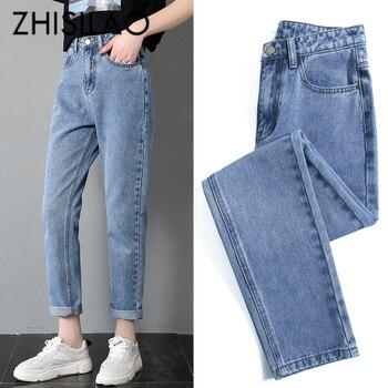 93b5cb6a Talla grande moda mujer pantalones de cintura alta estiramiento negro Denim Jeans  mujeres Vintage Skinny Casual pantalones vaqueros pantalones de pierna ...