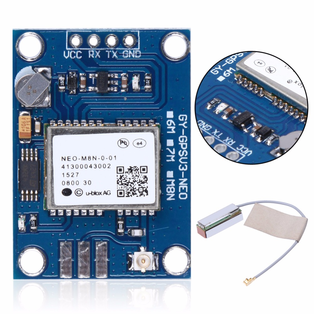 APM2.5 Ublox GYGPSV1 NEO-M8N GPS Module LED MWC Replace NEO-6M GY-NEO8MV2 With Ceramic Active Antenna gy neo6mv2 neo 6m gps module neo6mv2 with flight control eeprom mwc apm2 5 large antenna for arduino
