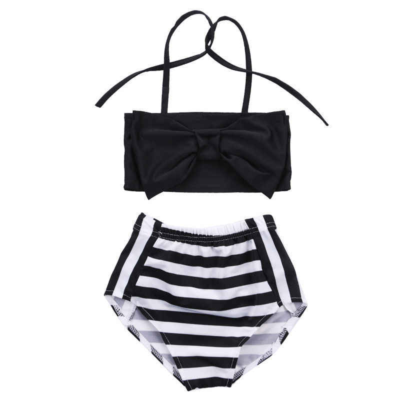 48770298cf05a Bowknot Baby Girl Kids Bathing Suit Swimwear Bikini Set Striped Tankini Swimsuit  Costume