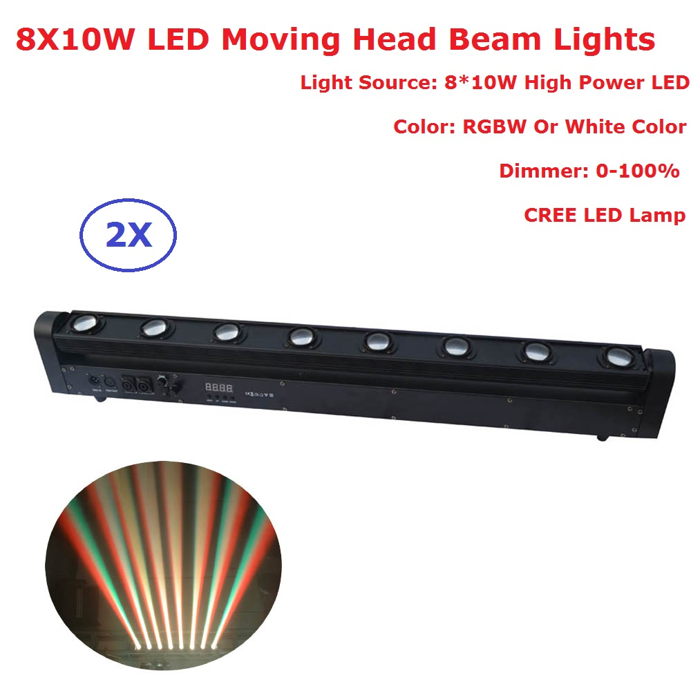 2Pcs/Lot LED Bar Beam Moving Head Lights RGBW 4IN1 CREE LED Lamp 8X10W LED Moving Head L ...