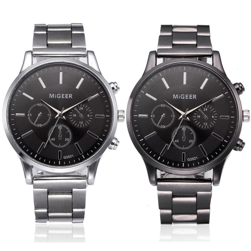 Fashion Men Crystal Stainless Steel Analog Quartz Wrist Watch Bracelet mens watches top brand luxury automatic mechanical clock