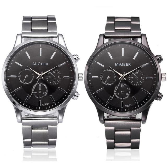 Fashion Men Crystal Stainless Steel Analog Quartz Wrist Watch Bracelet mens watc