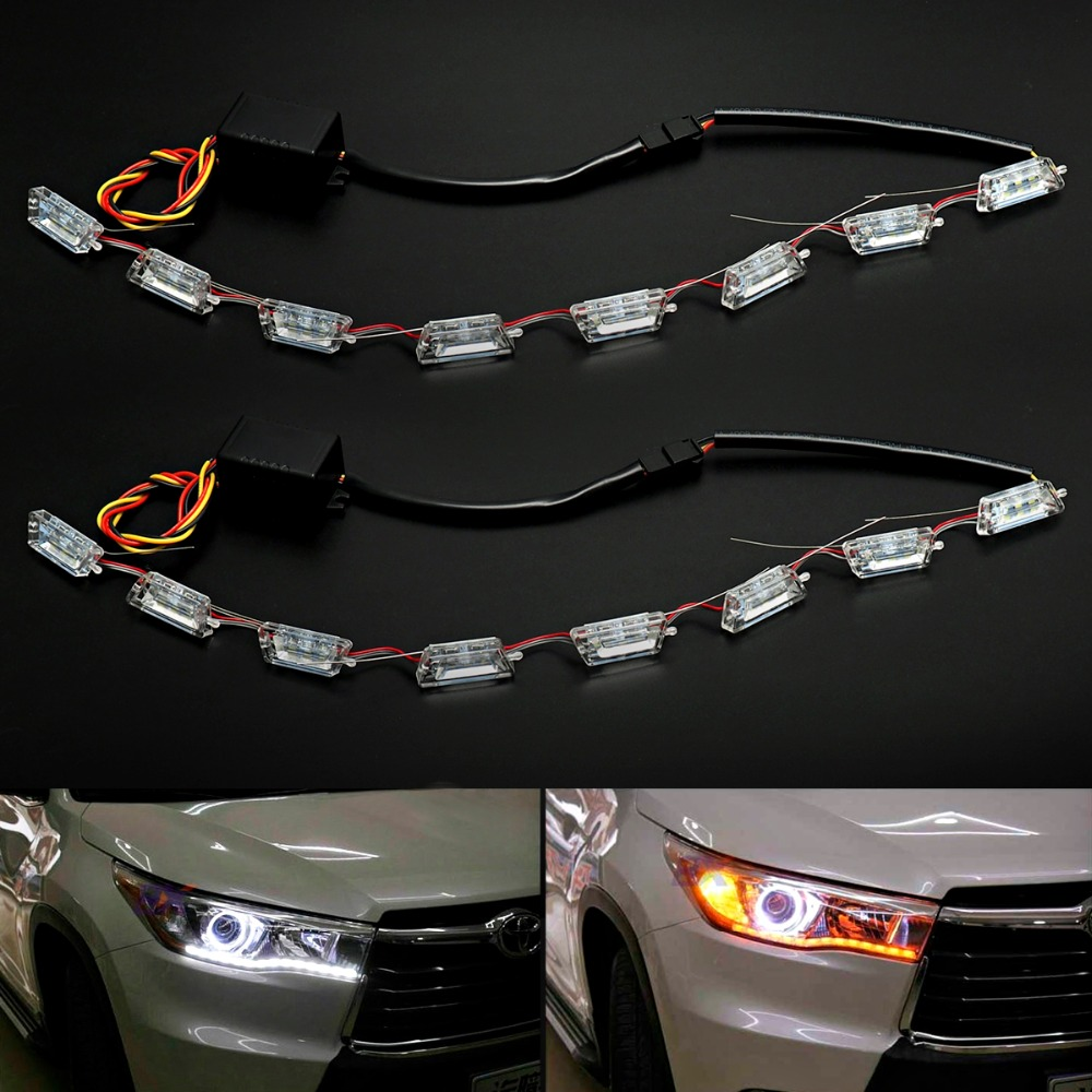 2PCS LED Car Flexible White/Amber Switchback LED Knight Rider Strip Light for Headlight Sequential Flasher DRL Turn Signal