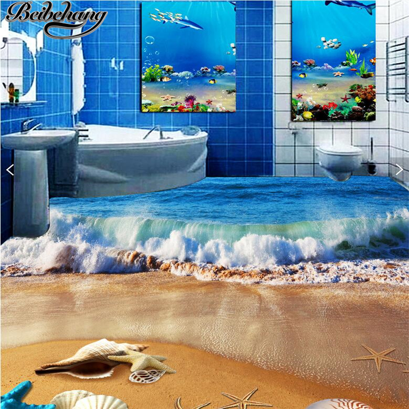 beibehang Custom large floor drawing 3d wave beach painting wallpaper bedroom living room 3D flooring wall papers home decor