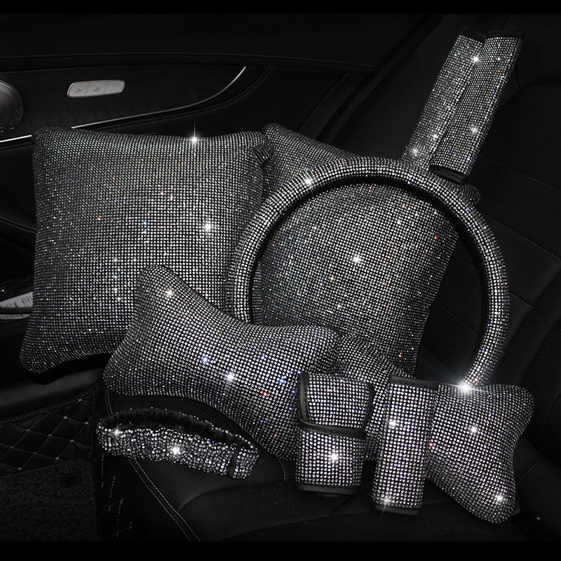 Rhinestones-Crystal-Car-Seat-belt-cover-pad-Neck-pillow-Waist-Support-Steering-wheel-cover-Auto-Interior