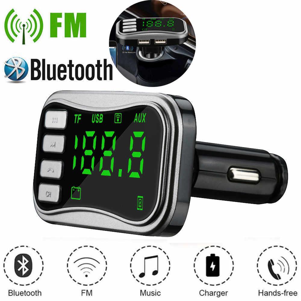 Kit de coche manos libres inalámbrico Bluetooth transmisor FM coche estilo LCD MP3 reproductor de música TF Flash música USB cargador FM MODULADOR