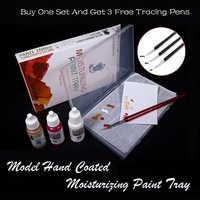 Modelo de pincel pintado a mano pintura acrílica a base de agua bandeja de pintura hidratante papel de pigmento hidratante bibuloso dedicado
