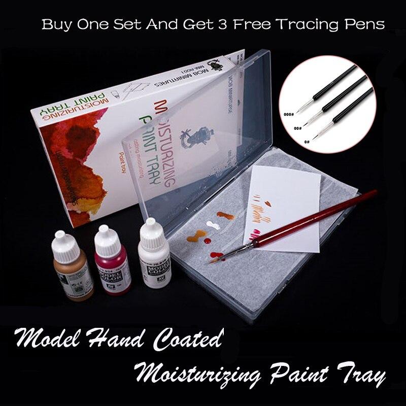 Hand Coated Model Paint Brush Water based Acrylics Paint Moisturizing Paint Tray Dedicated Bibulous Moisturizing Pigment Paper(China)
