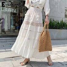 Everkaki Hollow Out Lace Maxi Skirts Women Bohemian Gypsy Long For Boho Elegant White Skirt 2019 Summer Autumn New