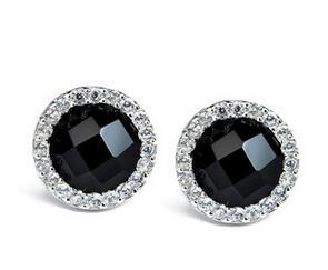 2017 New arrival hot sell black crystal 925 sterling silver female ladies stud earrings jewelry wholesale birthday gift women