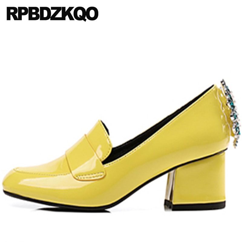 Thick 2018 Retro Crystal Square Toe 3 Inch Pearl Yellow Vintage Block Heels Shoes For Women Patent Leather High Pumps Rhinestone winter martin military boots men shoes leather men boots brand fur boots for men autumn winter shoes zapatos hombre size 38 48