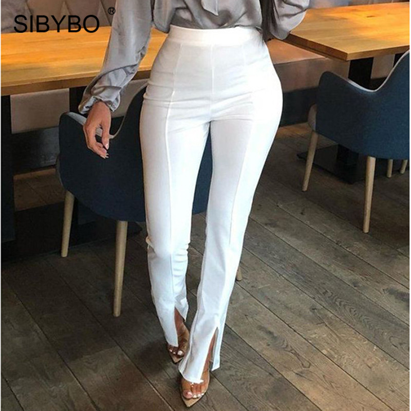 Sibybo High Waist Split Summer Pants Women Fashion Elastic Waist Sexy Pencil Pants Solid Casual Women Trousers 2019