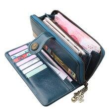 8a99136be Nuevas carteras de gran capacidad para mujer monederos de cuero Split bolso  de mano con cremallera para mujer titular de la