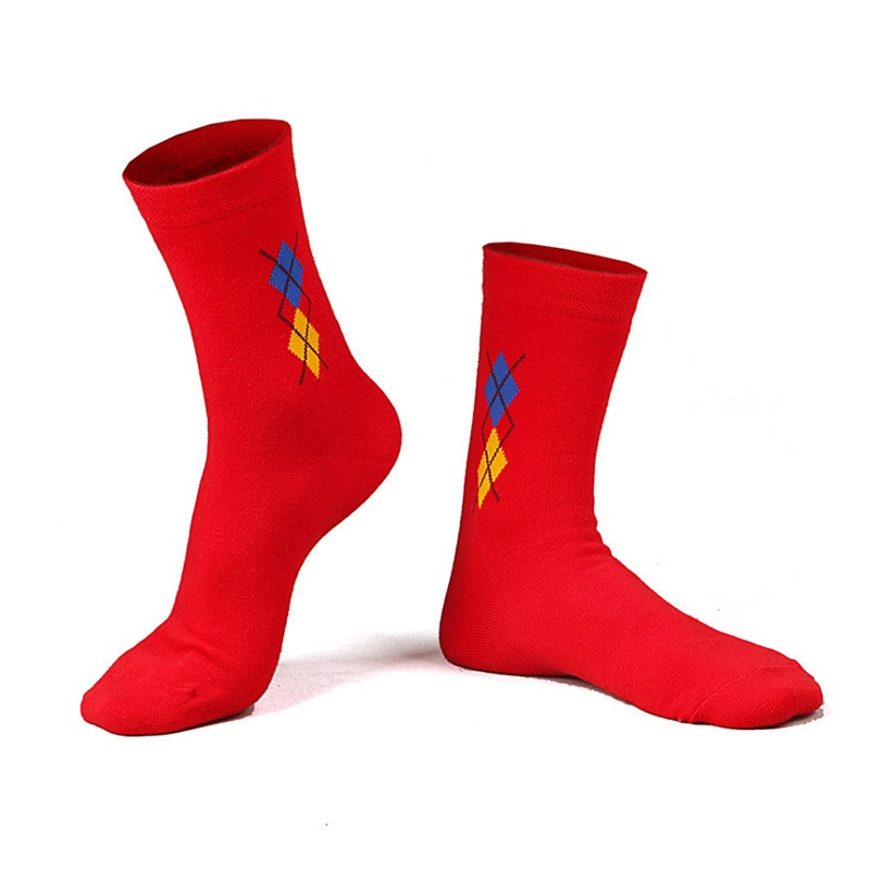 Underwear & Sleepwears Tireless Chrismas Red Soft Crew Mens Sock Embroidery Chinese Gift Cotton Ankle Socks Casual For New Year Festival Wedding Gift S2284 Quell Summer Thirst