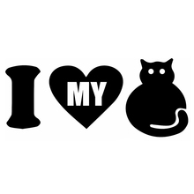 Stickers I Love My Cat Funny Car Animals