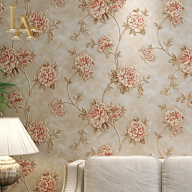 High Quality Deep Embossed European 3D Flower Wallpaper Vinyl Living Room  Sofa Wall Decor Waterproof PVC