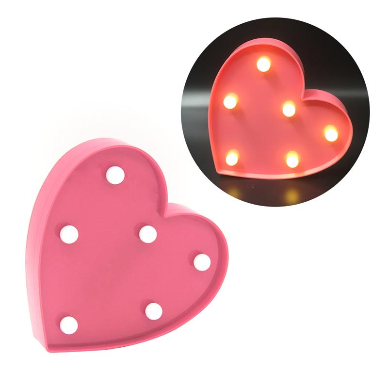 6 LED Hanging Table Decor Romantic Love Heart Sign Light for Christmas Home Wedding Birthday Party Decoration
