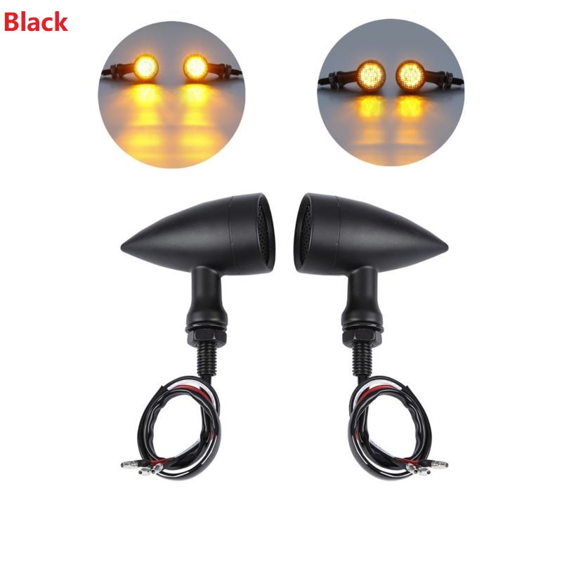 Home Amber Mesh Lens Led 2 Color Turn Signal Brake Light Bullet Bobber For Cafe Racer 12v For Harley Dyna Softail Flht Motorcycle