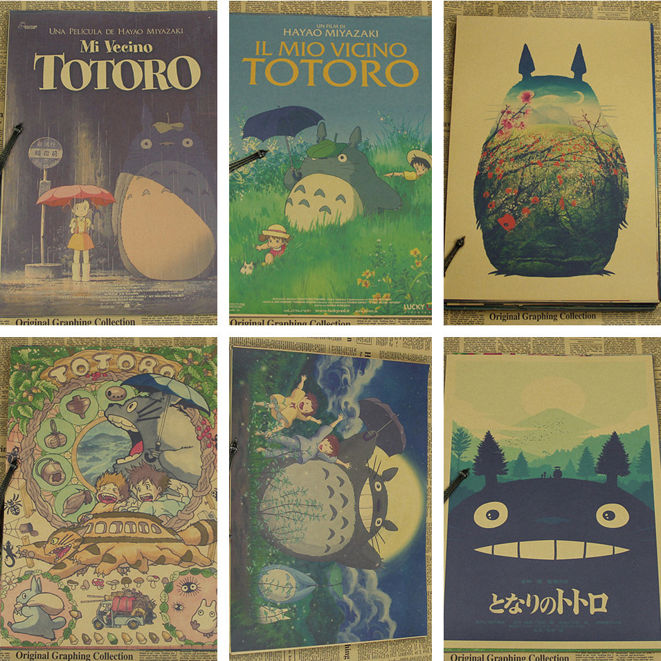 Vintage Retro Χαρτί anime poster Tonari no Totoro Miyazaki διακόσμηση τοίχων vintage διακόσμηση σπιτιού παιδική διακόσμηση δωματίων 42 * 30cm