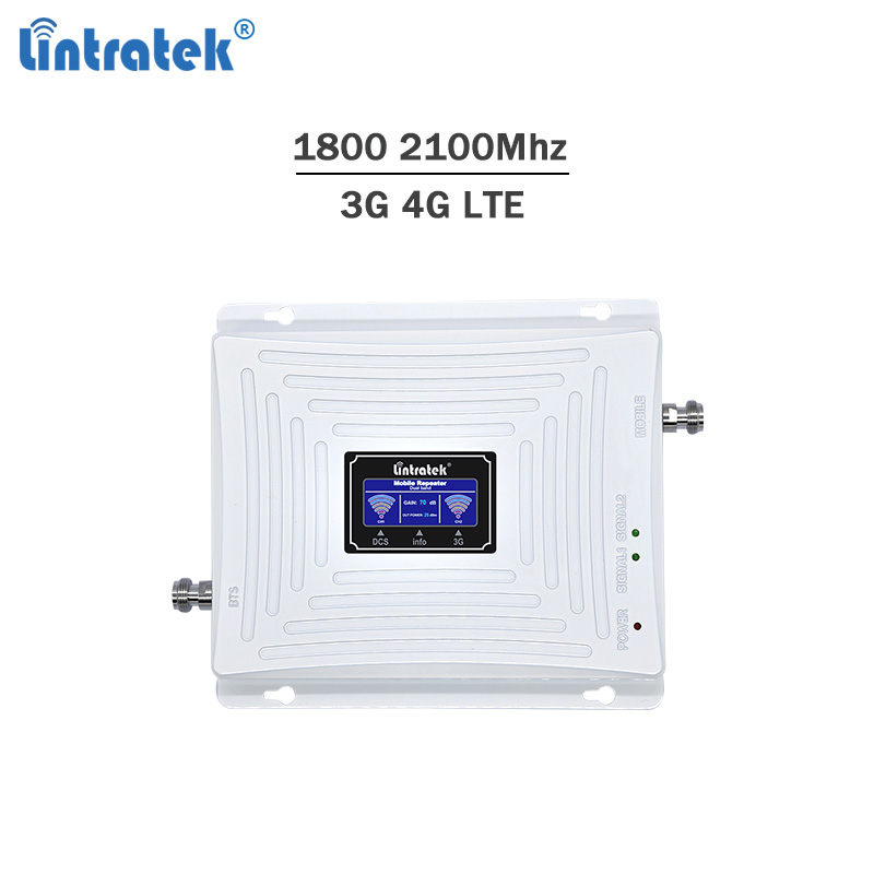 Lintratek new celular booster DCS 1800 WCDMA 2100 2G 3G 4G LTE signal repeater GSM UMTS LTE mobile phone amplifier no antenna #5-in Signal Boosters from Cellphones & Telecommunications    1