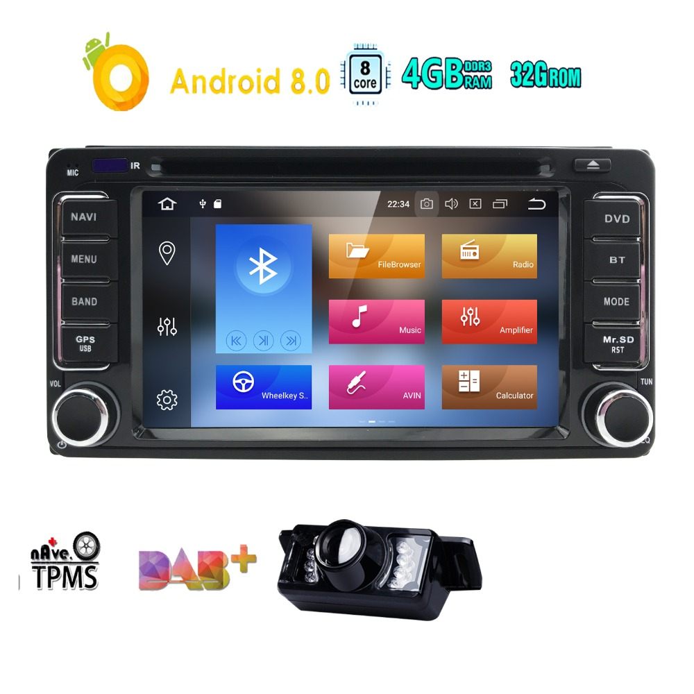 2 Two Din 6.2''Android 8.0 Car DVD Player For Toyota Yaris Corolla Prado Echo RAV4 Wifi GPS Navigation Bluetooth Radio 4+32GB