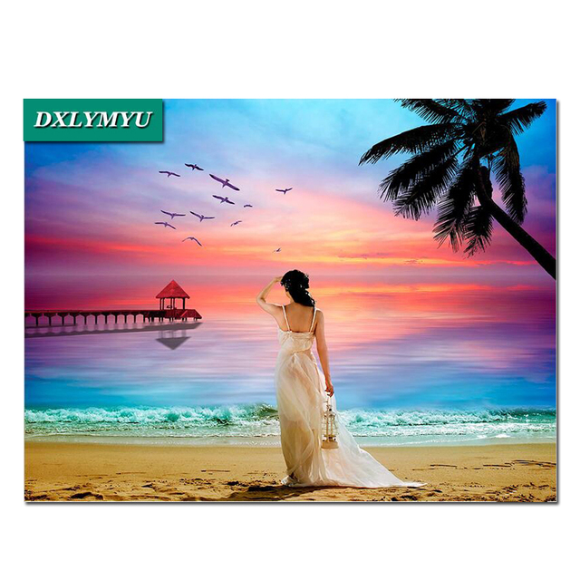 Hawaii Beach Vacation Diamond Painting Rhinestone Full Square 5d Embroidery Cross Sch Kits Decoration Mosaic