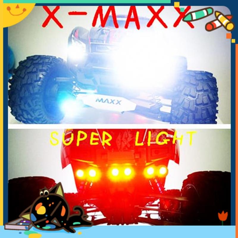 Traxxas X-MAXX XMAXX LED headlight lamp headlamp + tail lamp tail light red+ light bracket + parallel switch line rc car 1/5 a arm for traxxas x maxx 1 5
