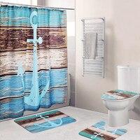 Non slip Mat Set Lid Toilet Cover 4Pcs Bathroom Pedestal Mat Bath Shower Curtain Polyester Machine Washable for Living Bed Room