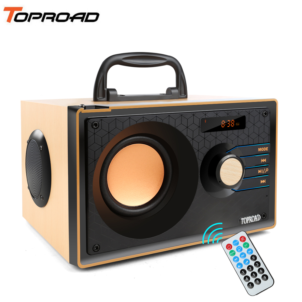 TOPROAD Portable Bluetooth Speakers Wireless Big Power FM Radio Speakers Outdoor Stereo Subwoofer Bass Support Remote Control Outdoor Speakers  - AliExpress