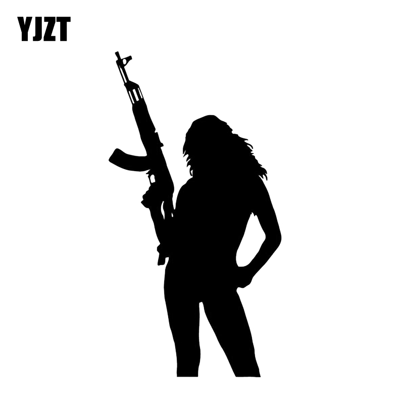 YJZT 8.5*16CM Mysterious Silhouette Hot <font><b>Sexy</b></font> Girl Mafia Gun Graphic Car Sticker Black Silver <font><b>Accessories</b></font> Vinyl Decals C12-0293 image