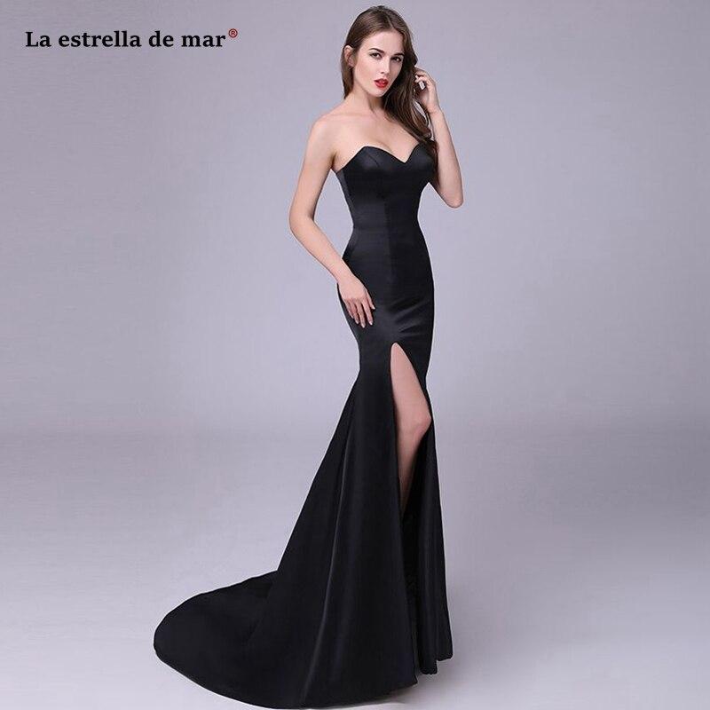Gala jurken2019 new satin sweetheart halter black sexy mermaid high slit dance   prom     dress   long custom vestido formatura