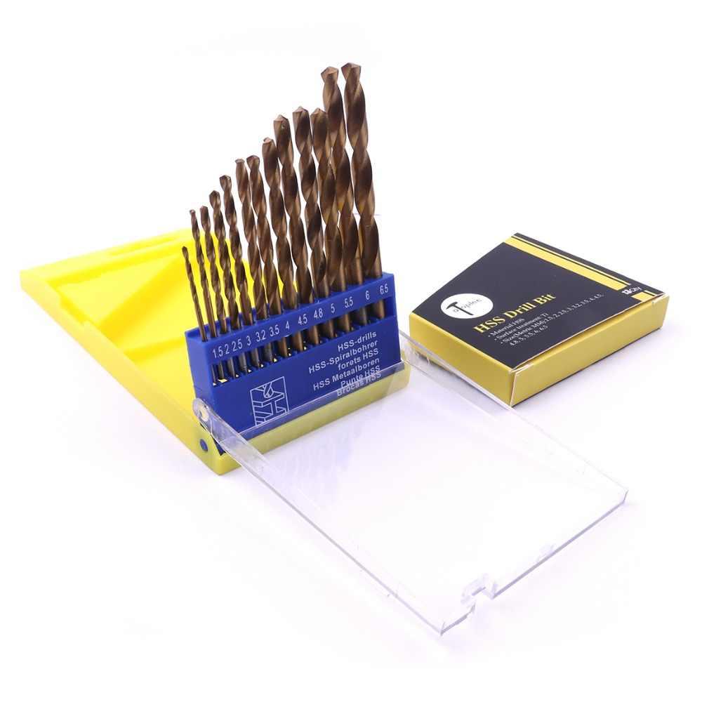 13 pçs/set Metric HSS Torção Broca de Titânio tamanho 1.5mm-6.5mm com Borboleta Caso Micro Broca para Perfuração de Aço Inoxidável