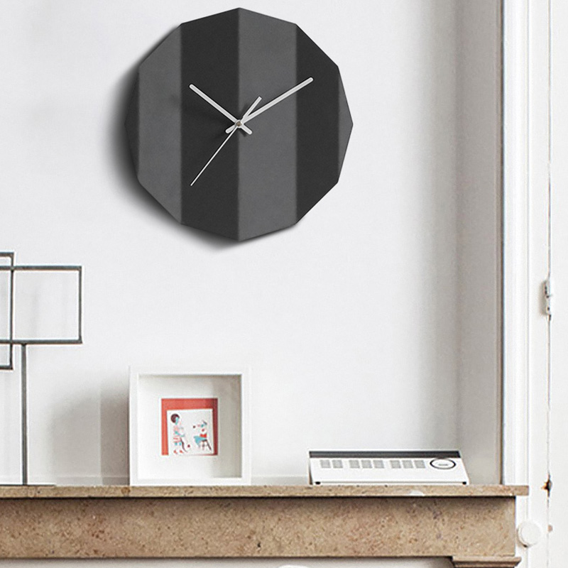 Origami design concrete clock silicone mold living room decoration cement clock mold bedroom wall gypsum clock