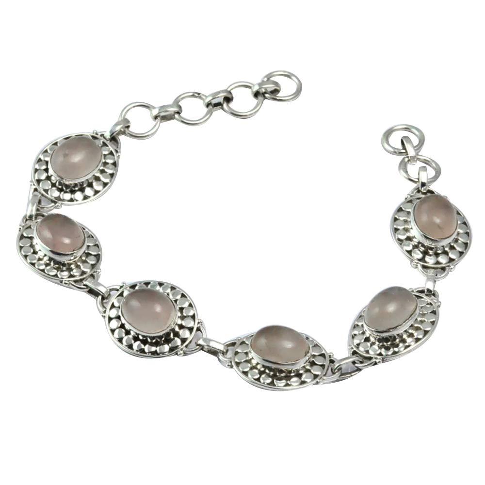 NiaoZaiFei YunZaiKan Genuine Rose Quartz Bracelet 925 Sterling Silver, 19 cm,2SBR0017