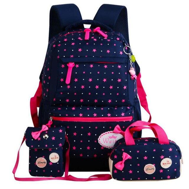 Основной школьный рюкзак для девочек детский школьный рюкзак школьные рюкзаки для подростков с принтом в горошек 3 шт. рюкзак милый Mochila